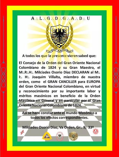 Declaración - Joaquim Villalta, 33° , Muy Poderoso Soberano Gran Comendador
