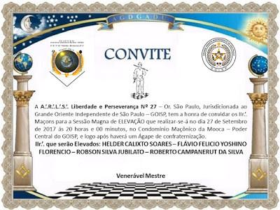 Loja do Grande Oriente Independente de São Paulo realiza sessão magna de elevação e solicita divulgação do CONVITE