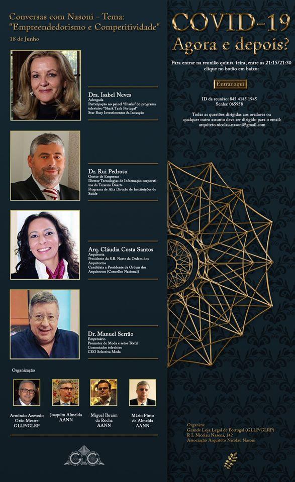 Maçonaria - MRGM Armindo Azevedo da GLLP/GLRP e a Associação Arquiteto Nicolau Nasoni convidam para uma reunião Zoom (agendada).