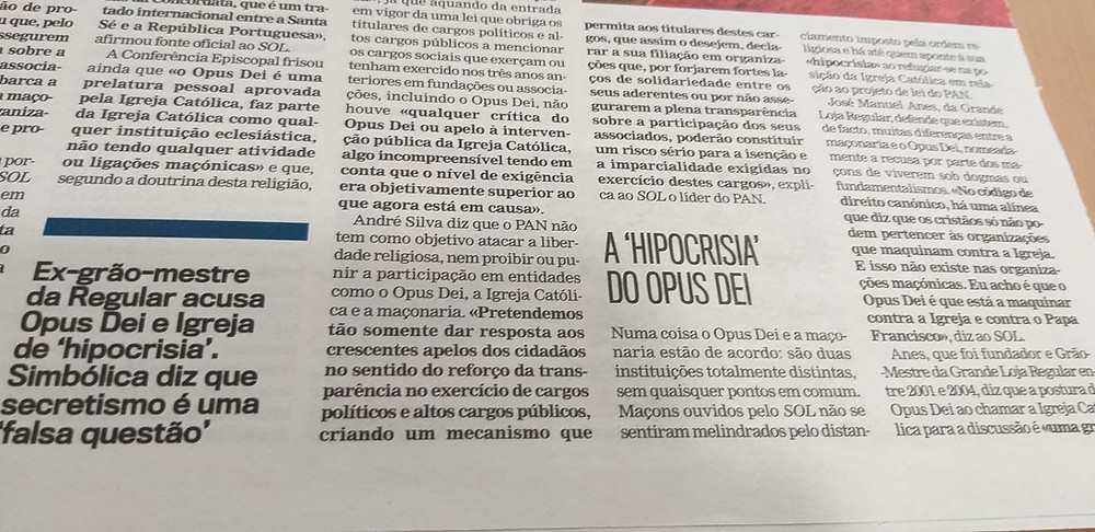 "A ""HIPOCRISIA"" do OPUS DEI | Jornal Sol | 28.12.2019"