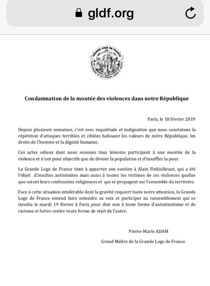 La Grande Loge de France | Condamnation de la montée des violences dans notre République