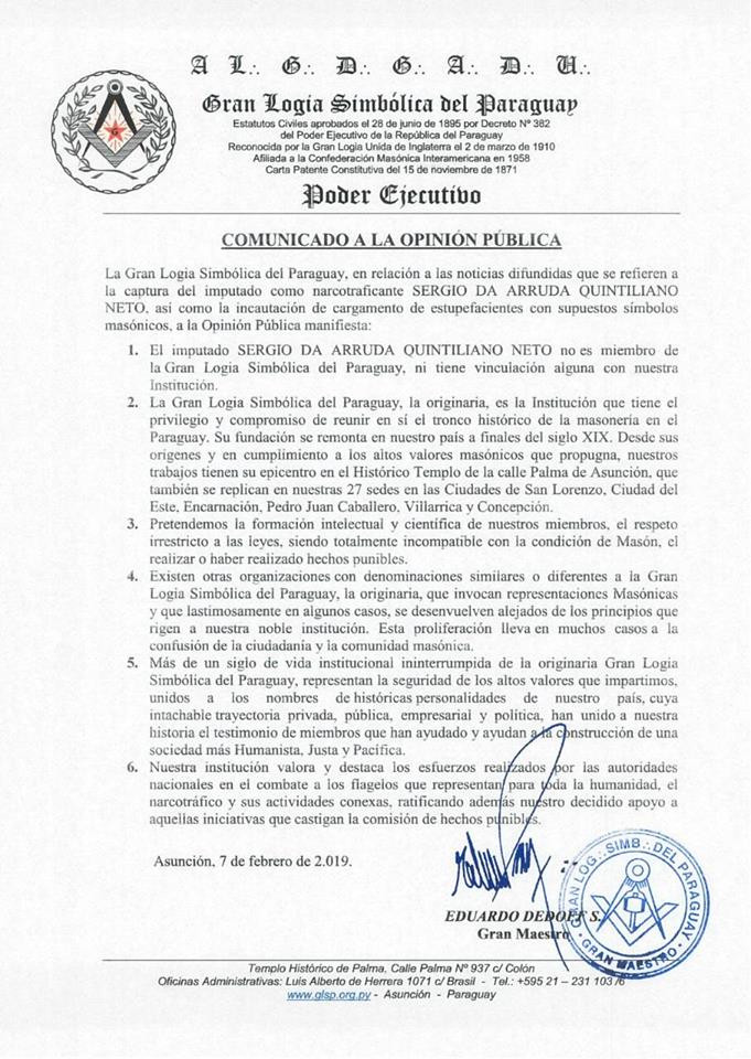 Es la aclaración de la Gran Logia Simbólica del Paraguay
