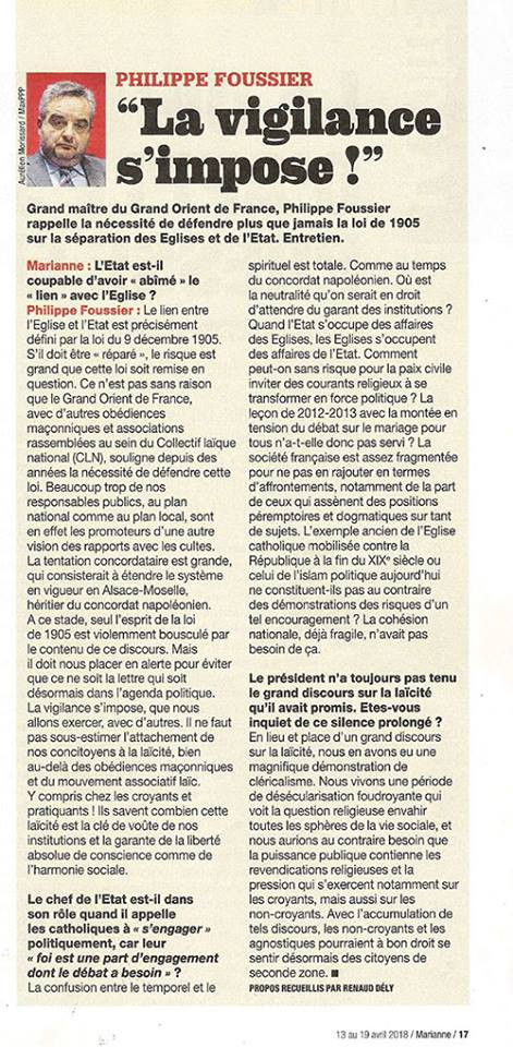 """"""" La vigilance s'impose!"""", Grand maître du Grand Orient de France, Philippe Fousier"""