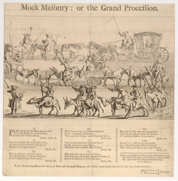 Cartoon: - An engraving showing a Mock Masonry procession through the streets of London