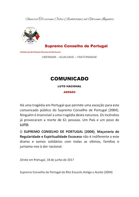 || Official Statement || Acient and Accepted Scottish Rite of Freemasonry of Portugal joins the National Mourning ||