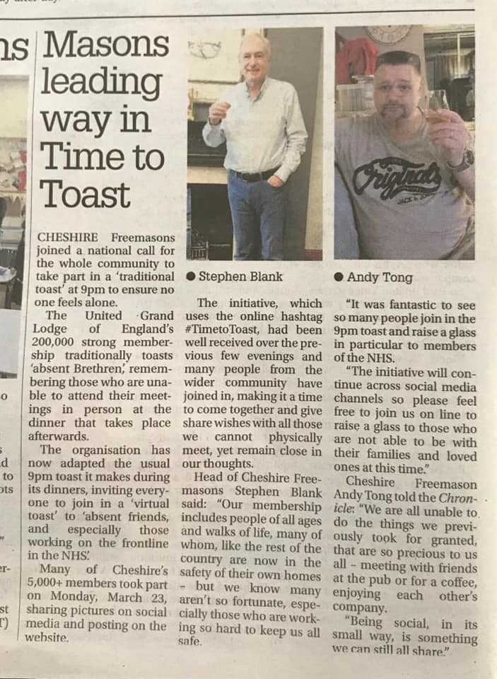 Thank you to the Chester Standard | Masons leading way in Time to Toast