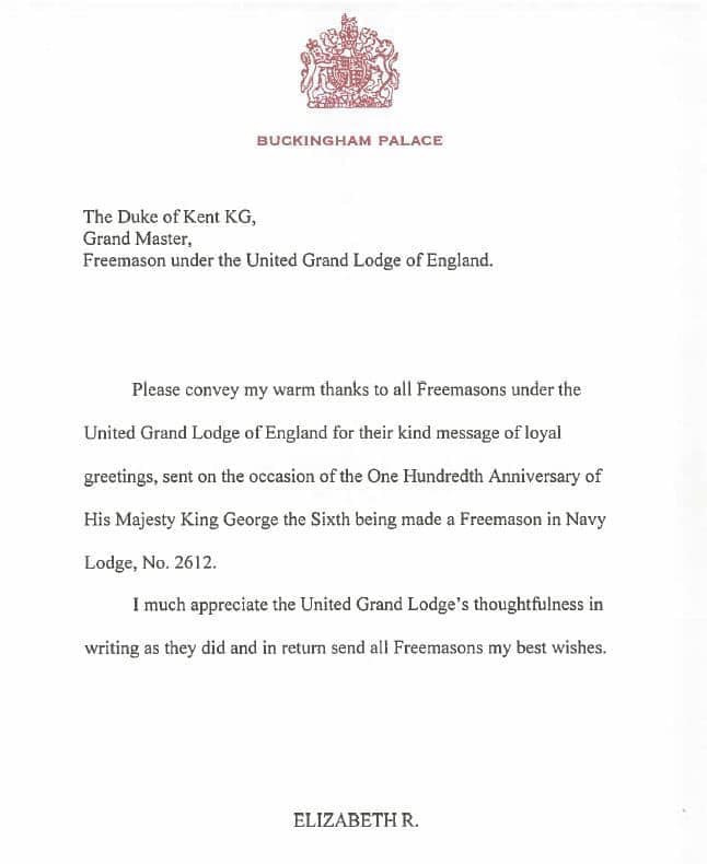 Correspondence to the Duke of Kent, Grand Master, and his reply to All Freemasons