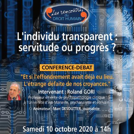L'individu transparent : servitude ou progrès ? | Conférence-débat le 10 octobre 2020 | DROIT HUMAIN