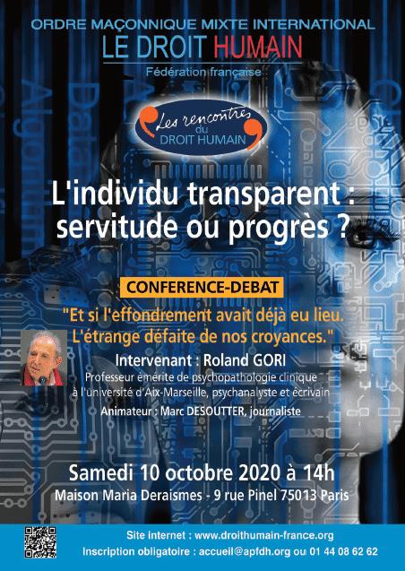 L'individu transparent : servitude ou progrès ?   Conférence-débat le 10 octobre 2020   DROIT HUMAIN