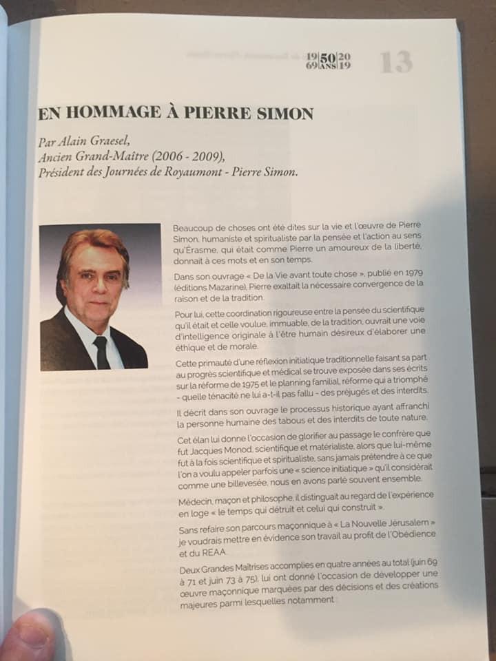 En hommage à Pierre Simon | Alain Graesel | Ancien Grand-Maître (2006-2009) | President des Jounées de Royaumont - Pierre Simon