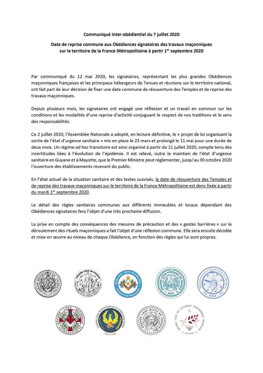 Franc-Maçonnerie - Communiqué inter-obédientiel | 07.07.2020 | #COVID19