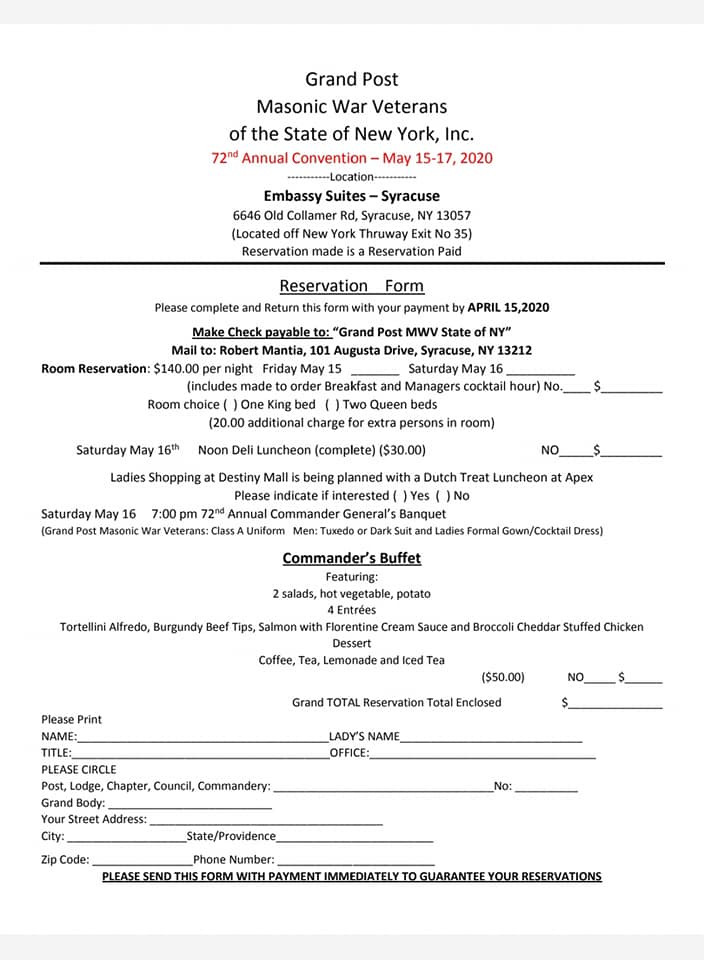 Masonic War Veterans | 72nd Annual Convention - May 15-17, 2020 | State of New York, Inc.