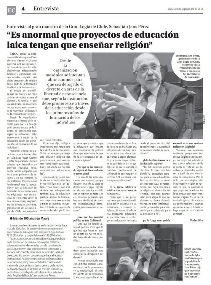 G.'. M.'. Sebastián Jans Pérez   G.'. L.'. Chile
