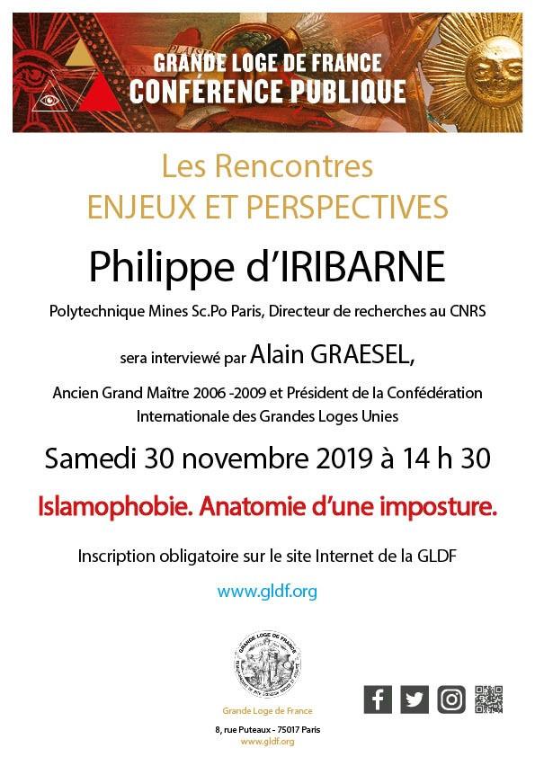 PHILIPPE D'IRIBARNE | GRANDE LOGE DE FRANCE | LE SAMEDI | 30 NOVEMBRE | 14.30 H.