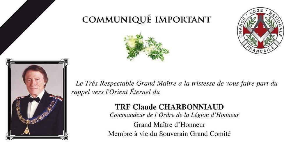 Franc-Maçonnerie - Orient Éternel - TRF Claude CHARBONNIAUD - GLNF