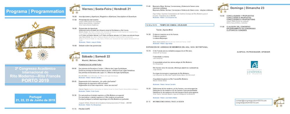 PROGRAMA   2º Congresso Académico Internacional do Rito Moderno - Rito Francês   PORTO 2019