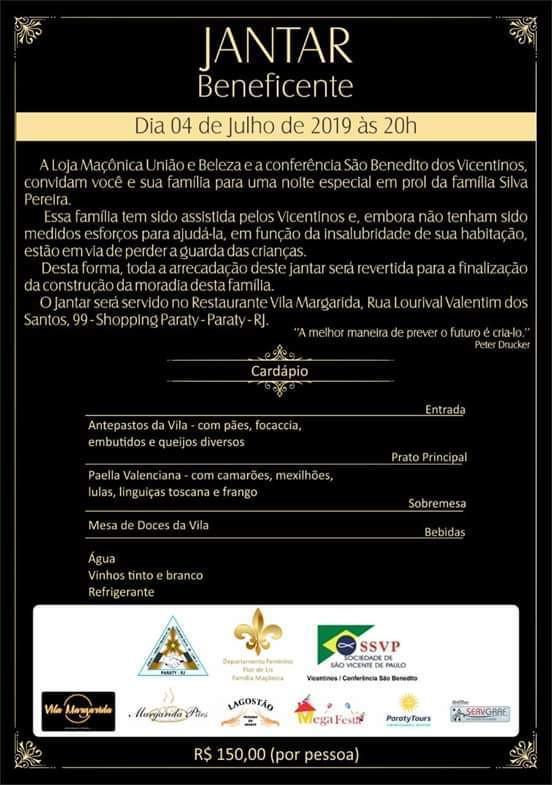 Loja Maçónica União e Beleza de Paraty vai promover um Jantar de Beneficência em prol da família Silva Pereira