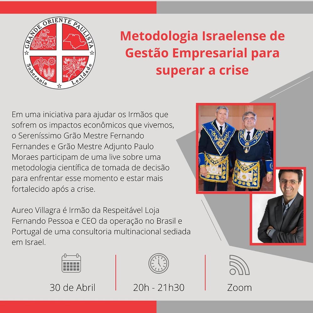 Grande Oriente Paulista | Palestra | Aureo Villagra | 30.04.2020 | 20H00-21H30 (hora do Brasil)