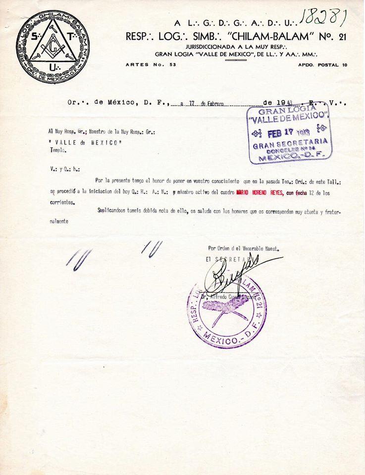 Masonería - El 12 de febrero de 1943 se inicia Mario Moreno Reyes (Cantinflas)