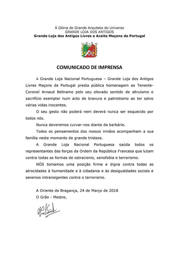 Grande Loja Nacional Portuguesa | Comunicado de Imprensa