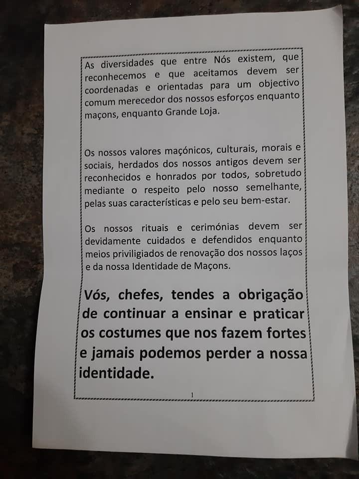 Maçonaria: - Documento histórico que circulou em 1996 na Grande Loja dos Antigos Livres e Aceites Maçons de Portugal