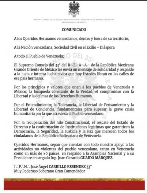 COMUNICADO | Supremo Consejo del 33º del REAA de la República Mexicana Grande Oriente de México