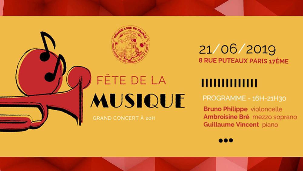 🔺 Fête de la MUSIC | Grand Concert à 20H | Grande Loge de France | 21.06.2019