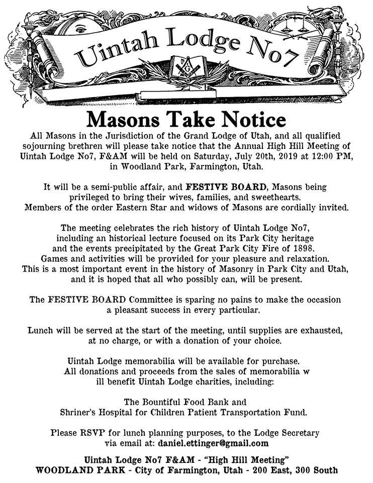 MASONS TAKE NOTICE | Uintah Lodge n. 7 | Utah, USA