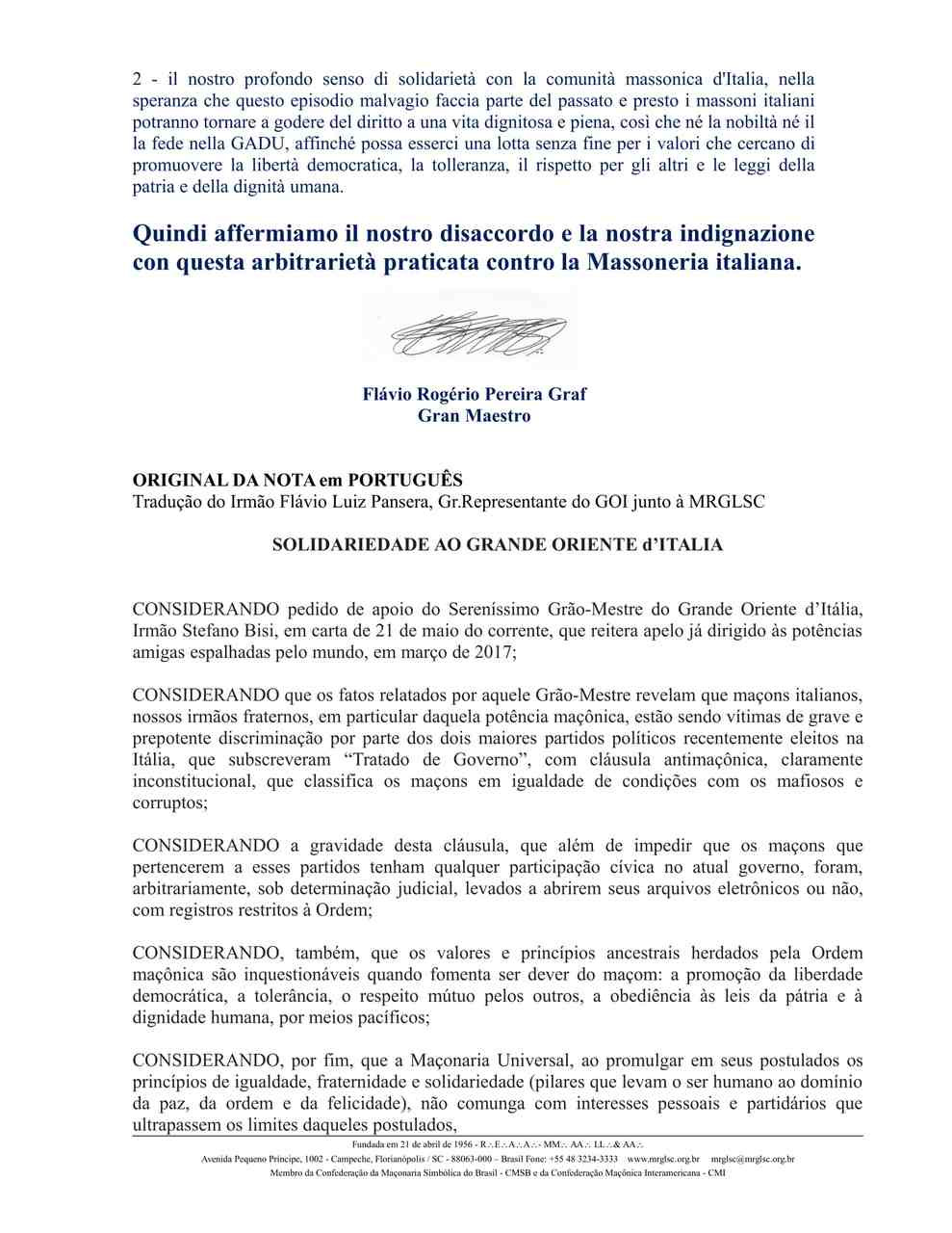 Solidarieta al Grande Oriente d'Itália | Grande Loja de Santa Catarina, BRASIL
