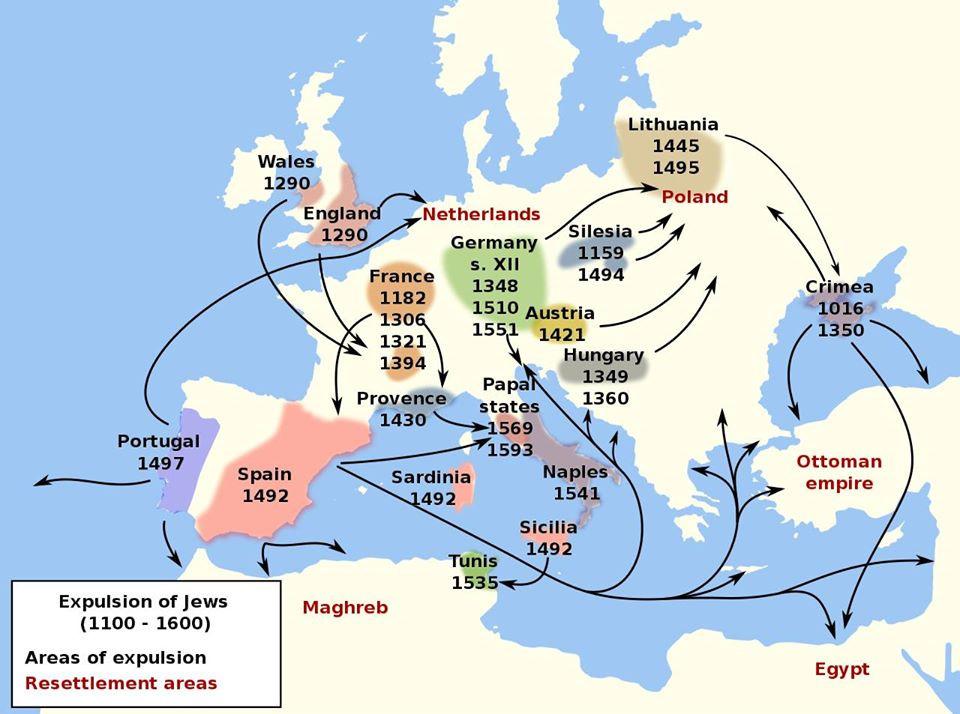 Carte datée des diverses expulsions des Juifs au Moyen Âge ainsi que les routes prises par les exilés...