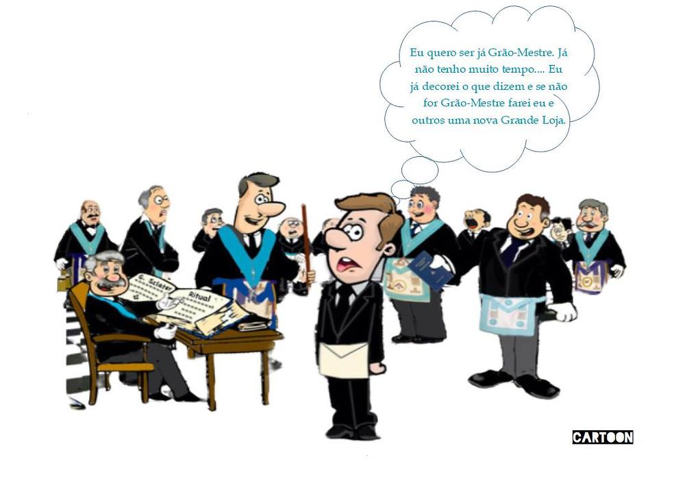 Cartoon: - Eu quero ser já Grão-Mestre. Já não tenho ....