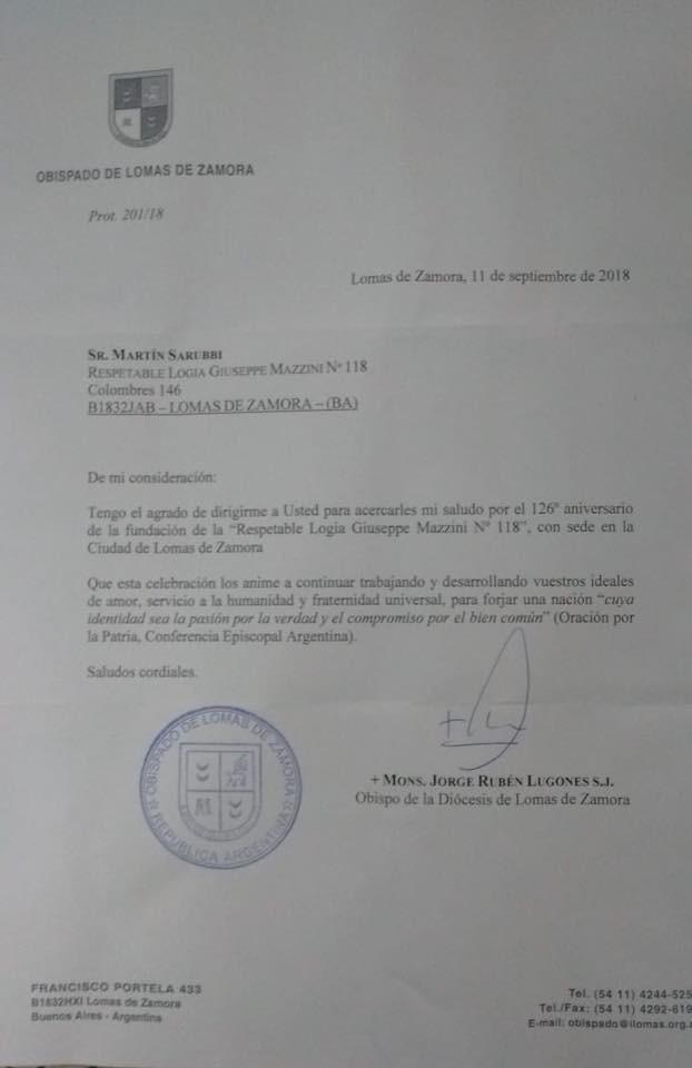 Salutación del Obispado de Lomas de Zamora