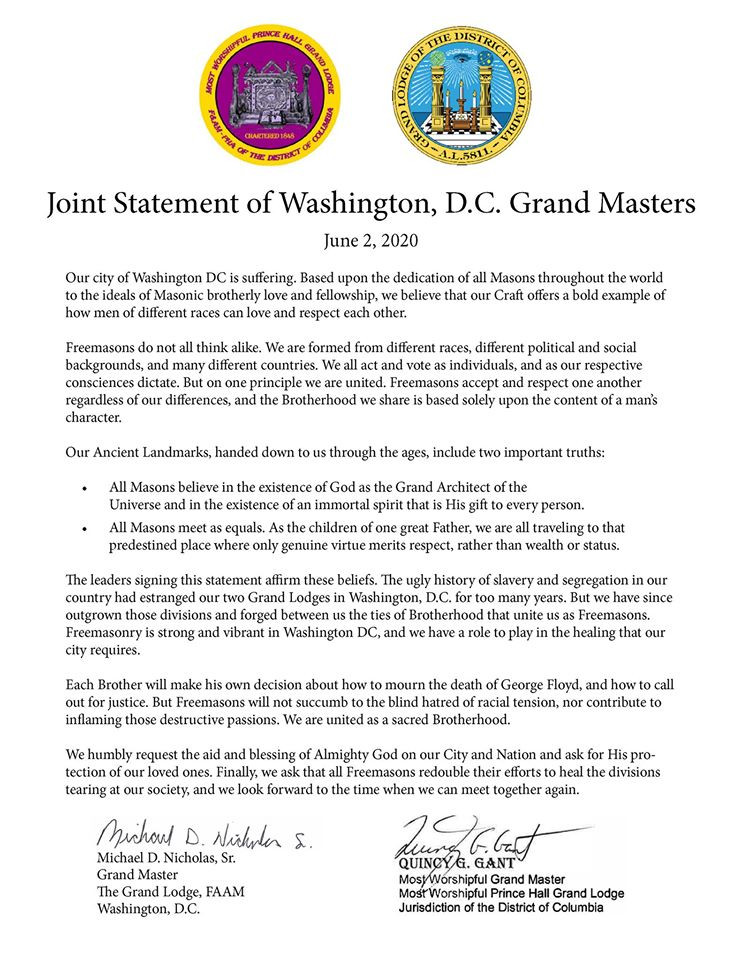 Grand Lodge District of Columbia -  Statement by the FAAM and Prince Hall Grand Masters of DC on the unfortunate recent discord ...