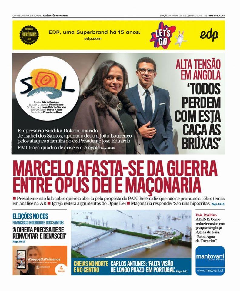 «Marcelo afasta-se da guerra entre OPUS DEI e MAÇONARIA» | Jornal SOL | 28.12.2019