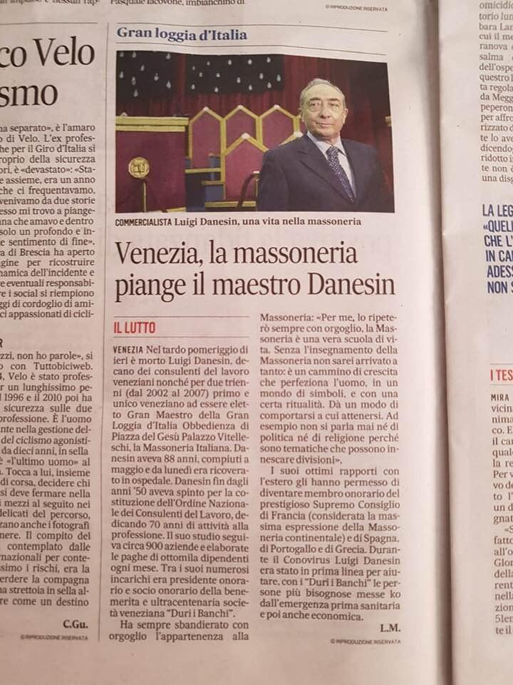 Massoneria - Venezia, la Massoneria piange il maestro Danesin | Il Lutto