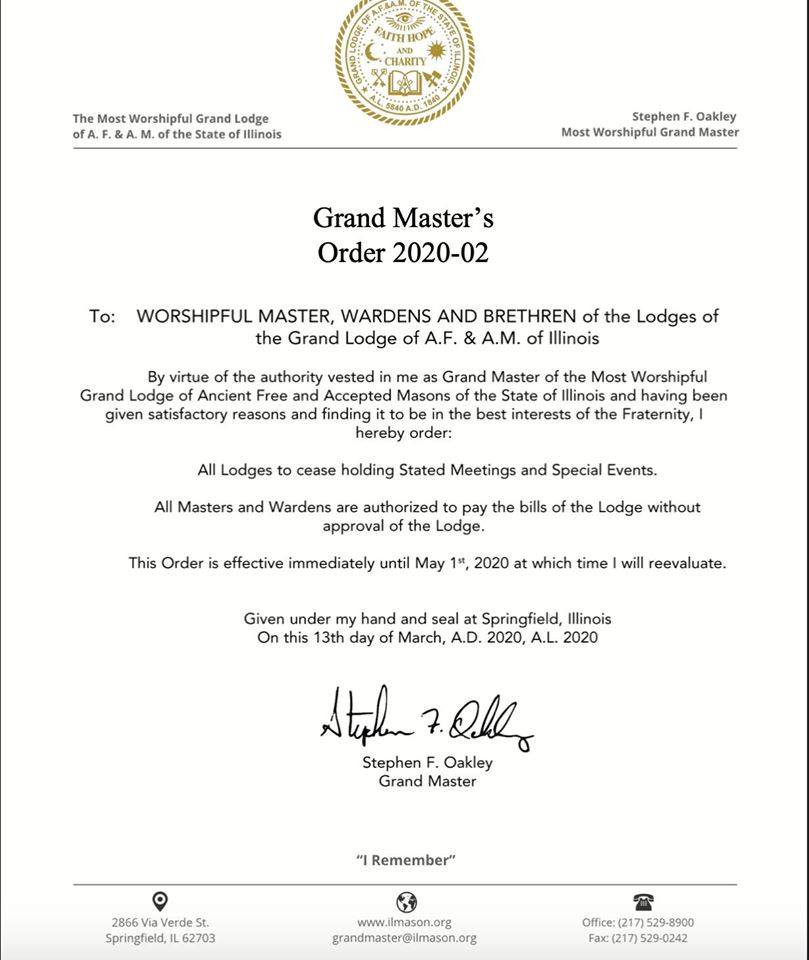 Grand Lodge of State of Illinois, USA | M.'. W.'. G.'. M.'. Stephen Oakley