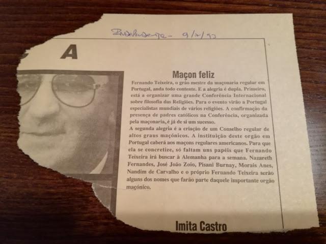 """Grão-Mestre Fernando Teixeira era um """"Maçon feliz"""", in o Jornal """"O Independente"""""""