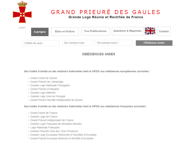 Grande Loja Nacional Portuguesa | Grand Prieuré des Gaules | Obédiences Amies