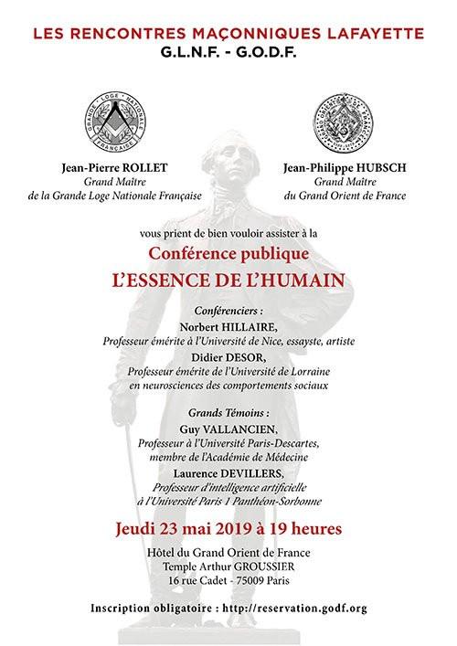 Vèmes Rencontres Maçonniques Lafayette - L'essence de L'humain, le jeudi 23 mai 2019 à 19h - PARIS