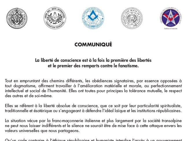 Comunicado conjunto de cinco Grandes Lojas Francesas