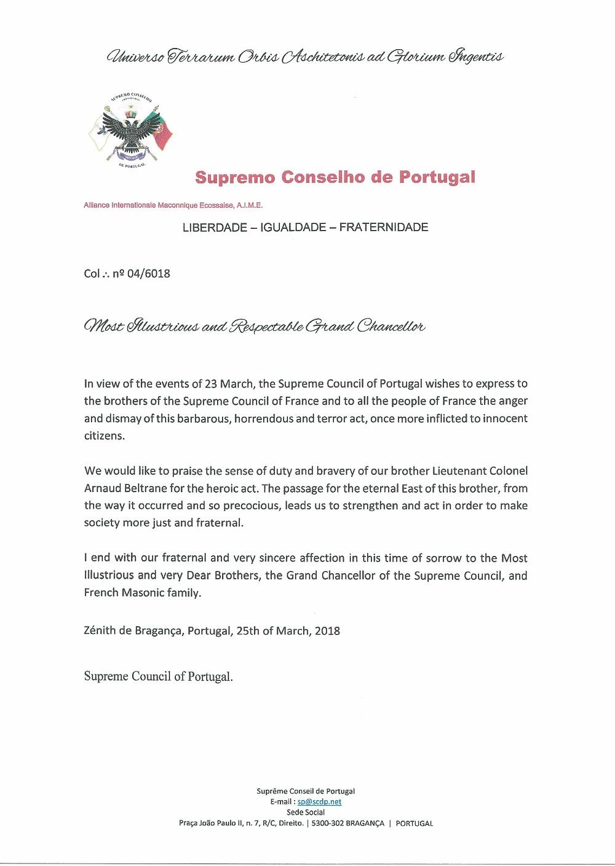 Mensagem do Supremo Conselho de Portugal ao Supremo Conselho de França