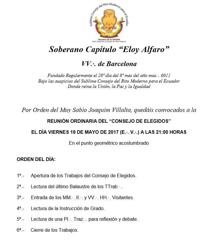 Convite para os Trabalhos do Soberano Capítulo Eloy Alfaro, Terrassa