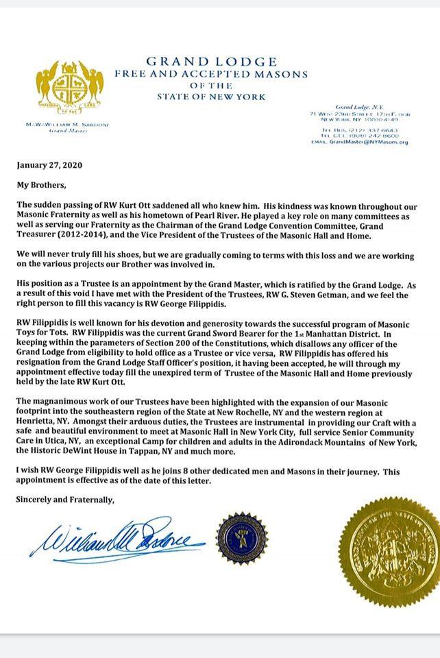 Most Worshipful Grand Master, William M. Sardone - Letter