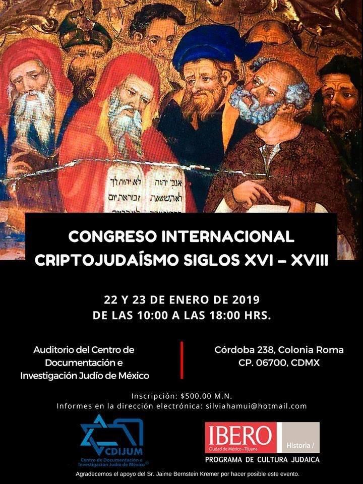 Congreso Internacional Criptojudaísmo Siglos XVI - XVIII | 22 y 23 de Enero de 2019