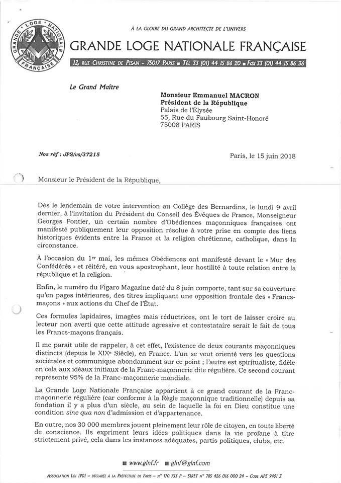 A Grande Loja Nacional Francesa envia carta ao Presidente da República de França | Ainda sobre os acontecimentos de 01.05.2018