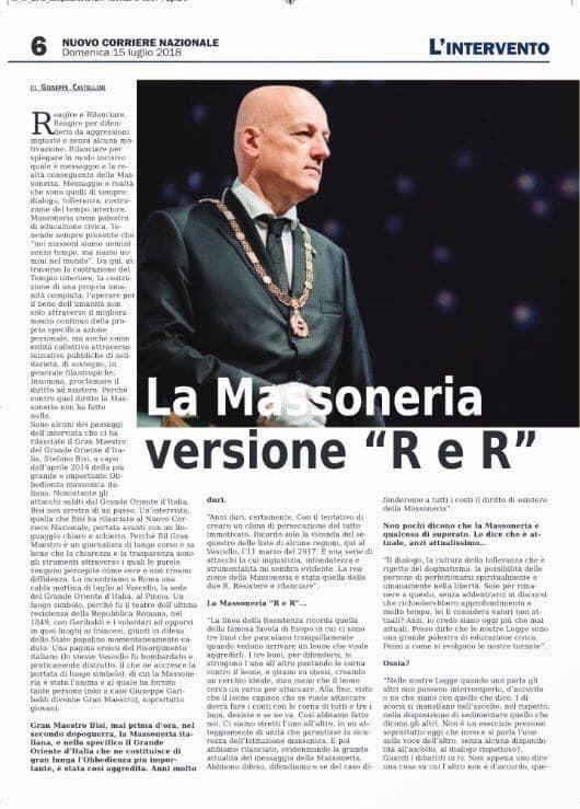 Massoneria Italiana | nuovo Corriere Nazionale | Líntervista, G.'.M.'. Stefano Bisi