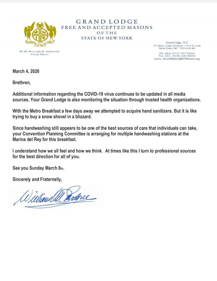 Please refer to the attached Follow-Up Message from our Grand Master, M.W. William M. Sardone