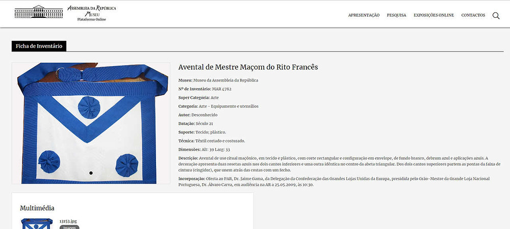 Avental no inventário da Assembleia da República | Rito Francês |