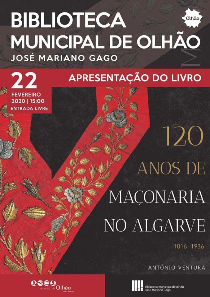 120 Anos de Maçonaria | Sábado, 15H00, Biblioteca Municipal de Olhão, Algarve