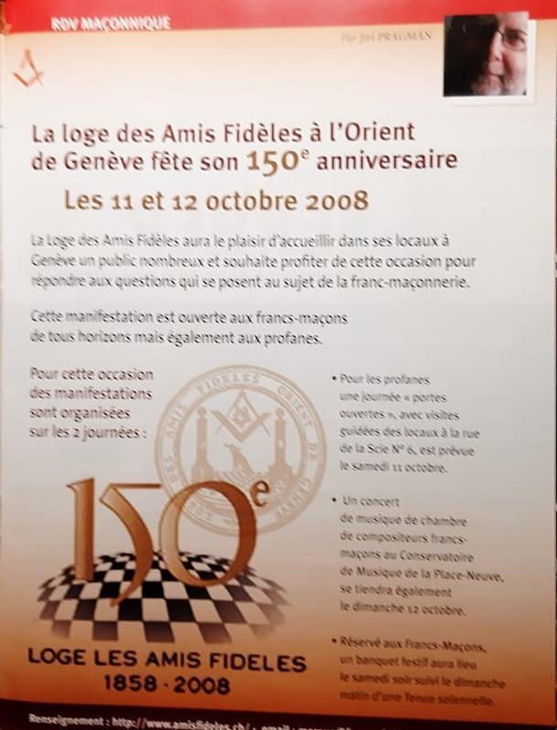 Franc-Maçonnerie - La loge des «AMIS FIDÈLES» à l'Orient de Genève fête son 162e   1858-2020